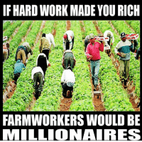 Memes, 🤖, and Danish: IFHARDWORK MADE YOU RICH  FARMWORKERS WOULD BE  MILLIONAIRES Thenwowillfail.com  Realitieswatch.org  Danish