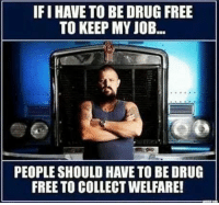 Memes, Free, and Drug: IFI HAVE TO BE DRUG FREE  TO KEEP MY JOB...  PEOPLE SHOULD HAVE TO BE DRUG  FREE TO COLLECT WELFARE! Exactly right