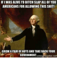 Alive, Bitch, and Shit: IFIWAS ALIVE I'D BITCH SLAP ALL OFYOU  AMERICANS FOR ALLOWING THIS SHIT!  GROW A PAIR OF NUTSAND TAKE BACK YOUR  omogenerator not  GOVERNMENT
