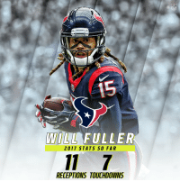 Memes, Texans, and Texan: IFL  TEXAN  LL FULLER  2017 STATS SO FAR  RECEPTIONS TOUCHDOWNS If you're throwing it to @Will_Fuller7, he's most likely scoring a TD. 😯  #Texans https://t.co/NrbIyolCNy