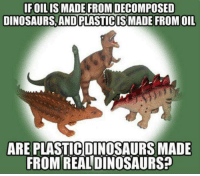 Dinosaur, Memes, and Dinosaurs: IFOILIS MADE FROM DECOMPOSED  DINOSAURS, AND PLASTICISMADE FROM OIL  ARE PLASTICDINOSAURS MADE  FROM REALDINOSAURS2