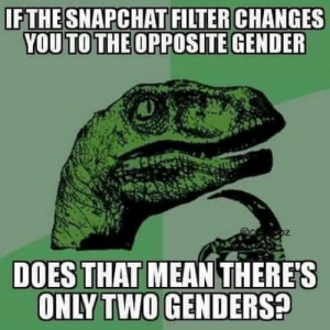 laughoutloud-club:  The biggest oof: IFTHESNAPCHAT FILTER CHANGES  YOU TO THE OPPOSITE GENDER  DOES THAT MEAN THERE'S  ONLY TWO GENDERS? laughoutloud-club:  The biggest oof
