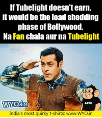 Tweet by @pr_akash_raj: IfTubelight doesn't earn,  it would be the load shedding  phase of Bollywood.  Na Fan chala aur na Tubelight  WYO.in  WYO1a  APPU  India's most quirky t-shirts: www.WYO.irn Tweet by @pr_akash_raj