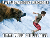Timmies: IFWEALLOWED GUNS IN SCHOOLS  TIMMY WOULD  STILL BE ALIVE