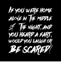Dank, Scare, and Home: IFYOU WERE HOME  ALCAENTr MippLE  If The NiGHT,MP  YOU HEARP A FART  WOULp yoU LAUGH OR  BE SCARE :) ME