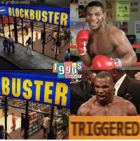 Blockbuster, Boxing, and Memes: IG @1990S.DAILY  BLOCKBUSTER-  DAILY  BUSTER  TRIGGERED From @1990s.daily - Like if you get it 🤣 Help those who don't ✌ . . Follow my other page @1990s.daily where I post artwork, memes, news etc about our favorite things from the 90's! . . miketyson 1990s 90s 1990smeme 90smeme memes memesdaily boxing boxingmemes 90sera 90sbaby triggered