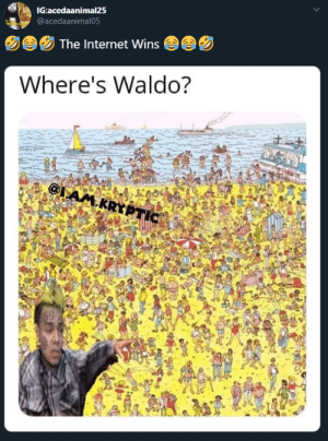 Wally ain't even do nothin (via /r/BlackPeopleTwitter): IG:acedaanimal25  @acedaanimal05  The Internet Wins  Where's Waldo?  AM.KRYP  TIC  62 Wally ain't even do nothin (via /r/BlackPeopleTwitter)