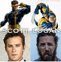 Memes, X-Men, and Gotham: IG BAT OF GOTHAM  SCOTT LOGAN From @bat_of_gotham_ - If the X men were to join the the MCU here's some of the cast I would like to see! I think armie has that leading power! He's giant standing tall at 6'5 with a nice build. Tom was born to play wolverine. He's naturally a beast. I think the x men should already be well established. Maybe at the end of infinity war doctor strange brings the avengers to a different reality where they meet the x men and try to get back. What do you think? Let me know down below! Feel free to comment and share just give credit! . . xmen mcu marvel marvelcomics marvelstudios logan wolverine scottsummers cyclops armiehammer tomhardy fancast avengers deadpool ryanreynolds deadpool2 cable x23 kevinfeige justiceleague dceu dc bvs suicidesquad