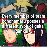 Memes, 🤖, and Com: IG boruto.fact  Every member of team  konohamaru posses a  different type.of geka  different type of geka  genka  COM Who's your favorite member so far?