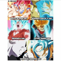 Anime, Bulma, and Club: IG: DBZ CLUB  I  RESURRECTION OF FARC  BATTLE OF GODS ARC  UNIVERSE 6ARC  FUTURETRUNKS ARC  UNIVERSAL SURVIVAL ARC To me, the future trunks, but the universal survival arc is turning out to be pretty good. Creator : @dbz.club Goku Vegeta Beerus Whis Xenoverse2 goten trunks bulma chichi Gohan otaku ssj ssj2 ssj3 ssj4 anime Zwarriors SuperSaiyanBlue Dragonball DragonballZ DragonballGT DragonballSuper Db Dbz Dbgt Dbs anime NamcoBandai over9000