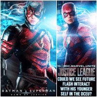 Batman, Definitely, and Future: IG DC.MARVEL.UNITE  COULD WE SEE FUTURE  FLASH INTERACT  BATMAN  SUPERMAN  B A T M A N y s u Penn A N 1 WITH HIS YOUNGER  SELF IN THE DCEU?  D A WNOF J U S TICE I think DC is really planning a Future FlashPoint - InJustice StoryLine for either one of EzraMiller's Solo ' Flash' Movies or a JusticeLeague Sequel or SpinOff. 🤔 One day we will definitely see The Future BarryAllen from The Post Apocalyptic Future we saw in BatmanVSuperman : DawnofJustice Return in a DCFilm. I think we might even get to see this version of FutureFlash interact with TheFlash of the present ! Comment Below your Thoughts & Theories and if you'd like to see a FlashPointParadox Movie in the DCEU ! DCExtendedUniverse 💥 ( DCFilms Art By : @BryanZapp ) ⚡️