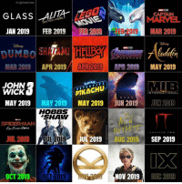 John Wick, Memes, and Movies: IG @GeekFacts  GLASS ALUTA  CADTAIN  MARVEL  FEB 2019EB 2019 MAR 2019  BATTLE ANGEL  JAN 2019  FEB 2019  DUMBO İHELDE  MAR 2019APR 2019 APR2019 P 20 MAY 2019  ENGER  ENDGAME  JOHN  WICK  DETECTIV E  PIKACHU  INTERNATIONAL  MAY 2019MAY 2019 MAY 2019 JUN 2019 JUN 2019  DARK  HOBBS  SHAW  SPIDERMAN  Far From HeME  CHAPTERTWO  JUL 2019  JUL 2019  JUL 2019AUG 2019  SEP 2019  019 0CT 2019  NOV 2019  DEC 2019 So, we're already one down so far. Glass has been incredibly divisive. Have you had a chance to see it? What did YOU think? I can't wait for Alita: Battle Angel, I have a good feeling about it after watching the trailers, I have a press screening in the next couple of weeks, and will let you know what I think. Which movies are you going to watch from the calendar? Comment below.👌🏻 ••• Turn on notifications + Follow: 🍿 - @MovieFacts 🤓 - @GeekFacts 🤔 - @GeekQuote