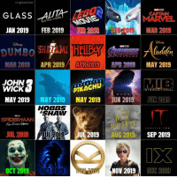 Geek Calendar for 2019 - Please show and share with your friends. Please credit me if you choose to use the image. Which movie are you looking forward to the most next year? I saw the Alita trailer, oh boy! that looks good. ••• Turn on notifications + Follow: 🍿 - @MovieFacts 🤓 - @GeekFacts 🤔 - @GeekQuote: IG @GeekFacts  GLASSA  CAPTAIN  MARVEL  MAR 2019  JAN 2019  FEB 2019  FEB 2019  FEB 2019  MARVEL STUOOS  DAENEERS  ENDGAMB  MAR 2019  APR 2019/  APR 2019  R2  PR 2019 MAY 2019  JOHN  WICK  DETECTIV E  PIKACHU  INTERNATIONAL  D A R  MAY 2019MAY 2019 MAY 2019 JUN 2019JUN 2019  HOBBS  SHAW  SPIDER-MAN  Fan From emE  UTHITS  UL 2019AUG 2019 SEP 2019  CHAPTER TWO  JUL 201  9JUL 201g  OCT  2019 0CT 2019  NOV 2019  DEC 2019 Geek Calendar for 2019 - Please show and share with your friends. Please credit me if you choose to use the image. Which movie are you looking forward to the most next year? I saw the Alita trailer, oh boy! that looks good. ••• Turn on notifications + Follow: 🍿 - @MovieFacts 🤓 - @GeekFacts 🤔 - @GeekQuote