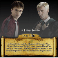 """😂 what is your favorite Draco scene?: IG @Harry PottersFact  Fact #166  In Harry Potter and The Chamber Of Secrets, When  Draco Malfoy says """"I didn't know you could read"""" to  Harry (looking like Goyle with polyjuice potion it was  actually improvised because Tom Felton forgot his line. 😂 what is your favorite Draco scene?"""