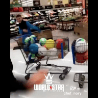 Dodgeball, Memes, and Wshh: IG.  HIP HOP COM They played DodgeBall in a grocery store 😩🏐😳 WSHH (via @chef_nory)
