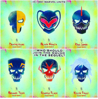 Hype, Memes, and Squad: IG I @DC.MARVEL.UNITE  DEATHSTROke  BLACk MANTA  KN SHhek  SAUAD 2  WHO SHOULD  JOIN THE SQUAD  IN THE SEQUEL?  BRONZE TIGER  REVERSE FLASH  KuLER FROST  D2 What DCComics Villains do you want to see Join TaskForceX in SuicideSquad2 ? 🤔 Also Comment Below what Members of The SuicideSquad you'd like to see Return for the Sequel and who should be The Villain of the Film ? 🤷🏽♂️ DCExtendedUniverse 💥 DCEU HYPE 💀 ( Artist : @farrrou ) 😍👏🏽 JusticeLeague