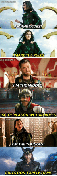 Cool, The Middle, and Old: IG I SUPERHEROAXIS  M THE OLD  EST  MAKE THE-RULES  G İ SUPERHEROAXIS  IM THE MIDDLE  HM THE REASON WE HADRULES  IG SUPERHEROAXIS  I'M THE YOUNGEST  RULES DON'TAPPLY TO ME Cool