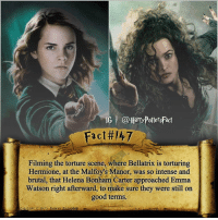 Memes, 🤖, and Emma: IG l @Harry PottersFact  Fact 47  Filming the torture scene, where Bellatrix is torturing  Hermione, at the Malfoy's Manor, was so intense and  brutal, that Helena Bonham Carter approached Emma  Watson right afterward, to make sure they were still on  good terms. Wow!