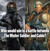 Memes, Winter, and Metal: IG MarvelTrueFacts  Who would win in a battle between  The Winter Soldier and Cable? Battle of the metal arms! 💪🏻 Who wins!? 🤔 Comment below! 👇🏻