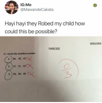 Memes, Test, and 🤖: IG:Mo  @MawandeCakata  Hayi hayi they Robed my child how  could this be possible?  09/01/2019  CLASS TEST  VI) Circle the smallest number  1. 39, 42, 67  2. 17, 71, 15  3. 96, 60, 86 Genious