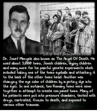 Children, Creepy, and Drugs: IG.o The Paranormal CUide  Dr. Josef Mengele also known as The Angel Of Death. He  used about 3,000 twins, Jewish children, Gypsy children  and many more for his painful genetic experiments which  included taking one of the twins eyeballs and attaching i  to the back of the other twins head. Another was  changing the eye color of children by injecting dye into  the eyes. In one instance, two Romany twins were sewn  together in attempt to create con joined twins. Manu of  together n attempt to create con jo'ned twins. Many of  his patients were put into pressure chambers, tested with  drugs, castrated, frozen to death, and exposed to  various other traumas. What a sick fuck Follow @the.paranormal.guide for more! . . . . . HASHTAGS BELOW . . . . . . . . . . . scary creepy gore horrormovie blood horrorfan love horrorjunkie ahs twd horror supernatural horroraddict makeup murder spooky terror creepypasta evil metal bloody follow paranormal ghost haunted me serialkiller like4like deepweb