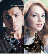 Memes, Emma Stone, and 🤖: IG THEBATBRAND Taron Egerton as Nightwing and Emma Stone as Batgirl. Thoughts? Not sure about Nightwing yet but I like Emma.