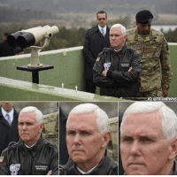 """Memes, Death, and South Korea: IG:@TRUMPWNS  wa President  Mda P nce Mike Pence gazes out over the demilitarized zone between North and South Korea in what will become known as the """"Mike Pence DMZ death stare."""" ⚡️"""
