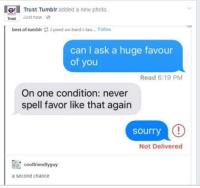 IG! Trust Tumblr added a new photo.  Trust Just now  best-of tumblr i peed so hard i lau... Follow  can I ask a huge favour  of you  Read 6:19 PM  On one condition: never  spell favor like that again  sourry  C!  Not Delivered  coolfriendlyguy  a Second Chance