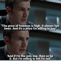 """Happy birthday Chris Evans, aka Captain America! 🇺🇸: IG: Villains  """"The price of freedom is high. It always has  been. And it's a price I'm willing to pay.""""  """"And if I'm the only one, then so be  it. But I'm willing to bet l'm not."""" Happy birthday Chris Evans, aka Captain America! 🇺🇸"""