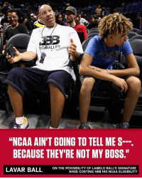 """Repost: @ESPN-""""LaMelo Ball's got a signature shoe ... and LaVar Ball doesn't care if the NCAA doesn't like it"""" Thoughts? 🏀🤔 WSHH: IGBALLER  """"NCAA AIN'T GOING TO TELL ME S--.  BECAUSE THEY'RE NOT MY BOSS.""""  ON THE POSSIBILITY OF LAMELO BALL'S SIGNATURE  SHOE COSTING HIM HIS NCAA ELIGIBILITY Repost: @ESPN-""""LaMelo Ball's got a signature shoe ... and LaVar Ball doesn't care if the NCAA doesn't like it"""" Thoughts? 🏀🤔 WSHH"""