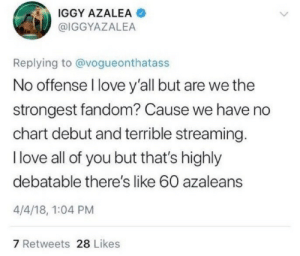 iwouldntshowmom:  killuo:  princessvexus:   997:  today's mood  Me when a selfie flops   The self awareness    THERE'S LIKE 60 AZALEANS  : IGGY AZALEA  @IGGYAZALEA  Replying to @vogueonthatass  No offense l love y'all but are we the  strongest fandom? Cause we have no  chart debut and terrible streaming  I love all of you but that's highly  debatable there's like 60 azaleans  4/4/18, 1:04 PM  7 Retweets 28 Likes iwouldntshowmom:  killuo:  princessvexus:   997:  today's mood  Me when a selfie flops   The self awareness    THERE'S LIKE 60 AZALEANS