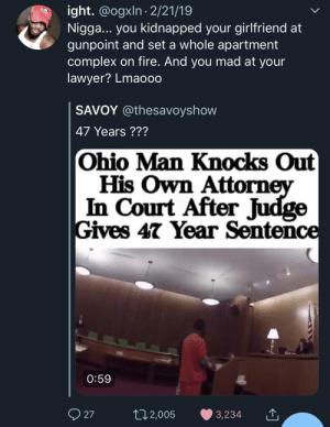 Complex, Dank, and Fire: ight. @ogxln 2/21/19  Nigga... you kidnapped your girlfriend at  gunpoint and set a whole apartment  complex on fire. And you mad at your  lawyer? Lmaooo  SAVOY @thesavoyshow  47 Years ???  Ohio Man Knocks Out  His Own Attorn  In Court After Judge  Gives 47 Year Sentence  0:59  27  02,005 3,234 What exactly was he expecting? 🤦🏾‍♂️ by MGLLN MORE MEMES
