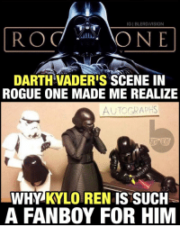 I'd get in line behind Kylo for a James Earl Jones autograph right about now. DarthVader was a monster in RogueOne. Almost literally. 👌🏾💯 Favorite moment of the film.: IGI BLERD VISION  RO  ONE  DARTHIVADERIS SCENE IN  ROGUE ONE MADE ME REALIZE  AUTOGRAPHS  WHY KY LOREN IS SUCH  A FANBOY FOR HIM I'd get in line behind Kylo for a James Earl Jones autograph right about now. DarthVader was a monster in RogueOne. Almost literally. 👌🏾💯 Favorite moment of the film.
