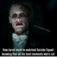 """This image is better than all of the heavily edited Joker scenes in Suicide Squad. I saw this image and wept, this is what white girls must mean when they say """"slay,"""" I would give my left nut for a gif of this scene, ummm I'm out of ridiculous statements lol but I NEED THIS SCENE @warnerbros dc dceu dccomics comics jaredleto joker suicidesquad scene warnerbros enchantress harleyquinn killercroc katana rickflagg amandawaller deadshot eldiablo meme joke mrj heathens batman thebatman: IGI TheDailyFanboy  How Jared must've watched Suicide Squad  knowing that all his best moments were cut This image is better than all of the heavily edited Joker scenes in Suicide Squad. I saw this image and wept, this is what white girls must mean when they say """"slay,"""" I would give my left nut for a gif of this scene, ummm I'm out of ridiculous statements lol but I NEED THIS SCENE @warnerbros dc dceu dccomics comics jaredleto joker suicidesquad scene warnerbros enchantress harleyquinn killercroc katana rickflagg amandawaller deadshot eldiablo meme joke mrj heathens batman thebatman"""