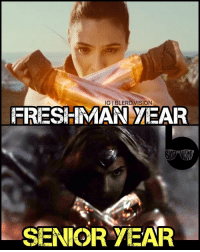 Memes, Senior Year, and Gal Gadot: IGIBLERD.VISION  FRESHMAN MEAR  SENIOR YEAR Note the dead stare and general disdain for humanity that comes with age and experience. 😂😐😑 So hyped for the WonderWoman trailer tomorrow! Check the teaser at @wonderwomanfilm now. @gal_gadot looks boss.