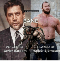 Id be up for that- Batman: IGIOTHEBATBRAND  BANE  VOIC  BY: PLAYED BY:  Javier Bardem  Hafpor Bjornsson Id be up for that- Batman
