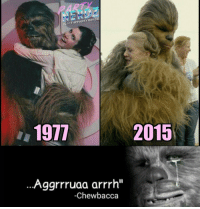 "Carrie Fisher, Chewbacca, and Memes: IGIOTHePARTYneRDZ  2015  1911  Aggrrruaa arrrh''  -Chewbacca Translated: ""I'm gonna Miss you"" RIP Carrie Fisher 😢😢 carriefisher chewbacca starwars hugs sad rip tribute wookie princessleia goodbye"