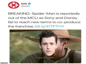 Disney, Fail, and Reddit: IGN  @IGN  BREAKING: Spider-Man is reportedly  out of the MCU as Sony and Disney  fail to reach new terms to co-produce  the franchise. bit.ly/31TETHY  I can fix that.  imgfip.com we did it mr stark
