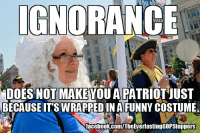 Ignorant, Memes, and Ignorance: IGNORANCE  DOES NOT MAKE YOUAPATRIOTUUST  BECAUSE IT'S WRAPREDIN A FUNNY COSTUME  facebook com/TheEverlastingGOPStoppers nice hat! how about those damn gays, eh? - j