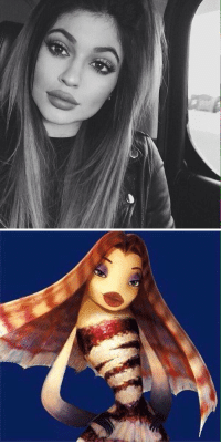 Kylie Jenner, Memes, and Shark Tale: IH Can somebody explain to me why Kylie Jenner looks just like Angie Rainbow from Shark Tale?? 😂😂