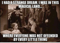 And then I woke up.: IHADASTRANGE DREAM, I WAS IN THIS  MAGICAL LAND  WHERE EVERYONE WAS NOT OFFENDED  BY EVERY LITTLE THING And then I woke up.