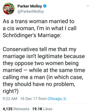 Chicago, Marriage, and Time: iharker Molloy  aParkerMolloy  As a trans woman married to  a cis woman, I'm in what I call  Schrödinger's Marriage  Conservatives tell me that my  marriage isn't legitimate because  they oppose two women being  married - while at the same time  calling me a man (in which case,  they should have no problem  right?)  9:22 AM 16 Dec 17 from Chicago, IL  4,135 Retweets 19.1K Likes