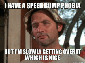 Meme, Nice, and Speed: IHAVE A SPEED BUMP PHOBIA  BUT I'M SLOWLY GETTING OVERIT  WHICH IS NICE  HEMEFUL COH Meme Carl Spackler