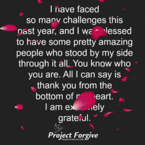 Memes, Thank You, and Amazing: Ihave faced  So manv challenges this  past year, and I wa lessed  to have some pretty amazing  people who stood by my side  through it all. You know who  you are. All I can say is  thank you from the  bottom of  I am exely  grateful.  eart.  Project Forgive  PROJECTFORCIVE ORC