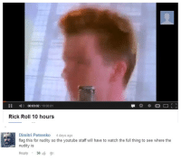 Simply diabolical: II A) 110.0001  Rick Roll 10 hours  Dimitri Petrenko  4 days ago  flag this for nudity so the youtube staff will have to watch the full thing to see where the  nudity is  Reply 36 Simply diabolical