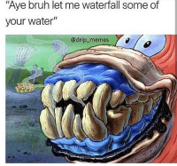 "Bruh, Memes, and The Worst: iI  Aye bruh let me waterfall some of  your water""  @drip memes This really be the worst 😅🤦‍♂️ @drip_memes WSHH"