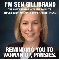 Memes, Pansies, and 🤖: IIM SEN GILLIBRAND  THE ONLY SENATOR WITH THE BALLS TO  REFUSE EVERY ONE OF TRUMPIS CABINET PICKS  REMINDING YOU TO  WOMAN UP PANSIES.