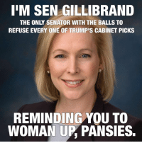 Memes, Pansies, and 🤖: IIM SEN GILLIBRAND  THE ONLY SENATOR WITH THE BALLS TO  REFUSE EVERY ONE OF TRUMPIS CABINET PICKS  REMINDING YOU TO  WOMAN UP PANSIES. Awesome!