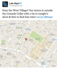 Bad, Church, and New York: IIMA Late Night  FALON LateNightJimmy  Near the West Village? Our intern is outside  the Comedy Cellar with 2 tix to tonight's  show & first to find him wins! ow.ly/oMmp2   Realty  EIlth St ←  th St  Christopher St  Waverly P  ← : W 9th St  r St  an Saligrove St  E 9th St  E 10th S  Christopher St Sherigophe  Sheridan Square  Viewing Garden  W 4 St [A,  DGC-DERM!  Grove St  8th St  ris &B  4th Str  Barrow St  Barrow Ste  Gerald Cantor  Film Center  West 4th  Waverly Plnson  Street Courts  8 St M  Morton St  Father Demo  Square  Washington  Square Park  Judson  Memorial a  Church  Jakobson  Properties  St Lukes Pl  ngton Pl  W 3rd St  Winston  Churchill Square  NYU  James J  Walker Park  Carmine St  Courant Institute  of Mathematical  Sciences  Houston  St [1]  WHouston St  Courtyard  -New York  Manhattan/SoHo  NYU  Athletics  ints by  hattan  Village  Father  Fagan Park  erStBleecker 0ndo  BroadwayM St 6  Lafayette  St [B,D,F.MI  Houston St  andam St  Thompson  Street Pool  Saxon t  Parole  Spring St  E Ho  pring St <p>If you&rsquo;re in the West Village area, our Trenchcoat Tickets intern is outside the Comedy Cellar RIGHT NOW with 2 VIP tix to tonight&rsquo;s show! All you have to do is be the first to find him and you&rsquo;ll get to watch the premiere of Joking Bad from our studio. Go! Go! Go!</p>