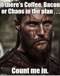 you had me at chaos...: Iithere's Coffee, Bacom  or Chaos in the plan  nouR Count me in. you had me at chaos...